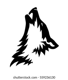 Black vector howling wolf head illustration, icon or tattoo design