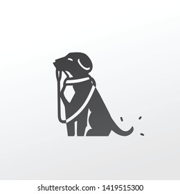black vector icon logo dog puppy sit sitting and holding the leash in its mouth. wearing canine collar. waiting to go for a walk