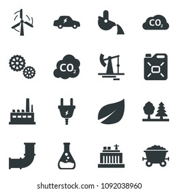Black vector icon set oil jack vector, leaf, flask, windmill, pipeline, hydro power plant, plug, forest, factory, gear, canister, electric car, co2, metallurgy, mine trolley