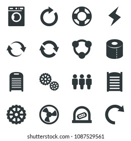 Black vector icon set ticket office vector, washer, storm sign, washboard, toilet paper, fan, gear, refresh, friends, social media, lifebuoy, reload, redo