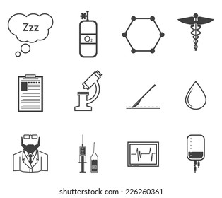 Black vector icons for anesthesiology. Set of black silhouette vector icons with elements for anesthesia on white background.