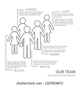 Black vector infographic our team outline design template