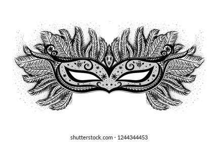 Black vector isolated carnival mask on white background. Mardi Gras. Symbol of celebration.