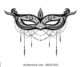 Black vector isolated carnival mask on white background. Mardi Gras.