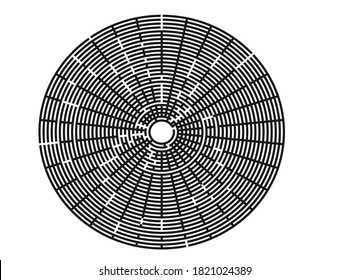 Black vector labyrinth in flat style on an isolated white background.Round maze puzzle.A game for the of logic,intelligence, find the way exit from the circle.Abstract maze labyrinth with entry and ex