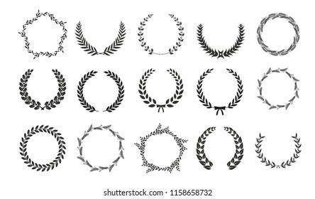 Black vector laurel wreaths on white background. Set of foliate award wreath for cinema festival.Vector illustration.
