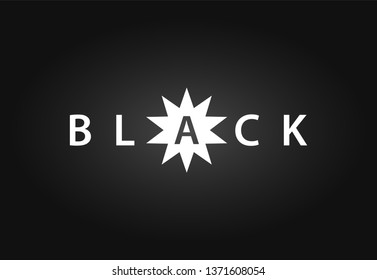 Black, Vector Logotype emblem illustration with star on black background in EPS10.