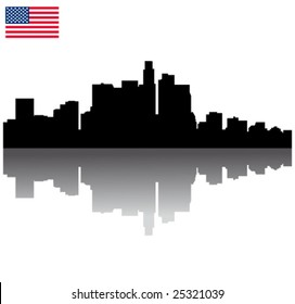 Black vector Los Angeles silhouette skyline with USA flag
