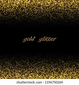 Black vector luxury background with gold glittering particles.