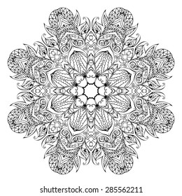 Black vector mandala on a white background
