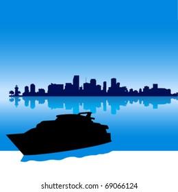Black vector  Miami silhouette skyline with yacht