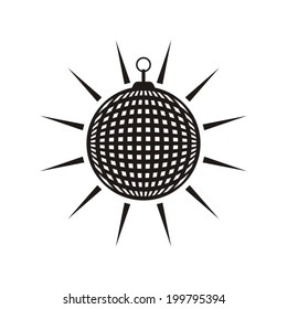 Black vector mirror disco ball icon isolated