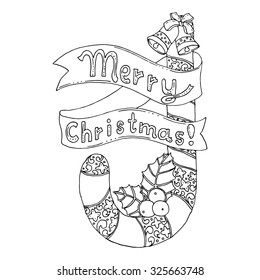 Black vector mono color illustration for Merry Christmas and Happy New Year 2017 print design. Coloring book page design for adults or kids. Vector template.