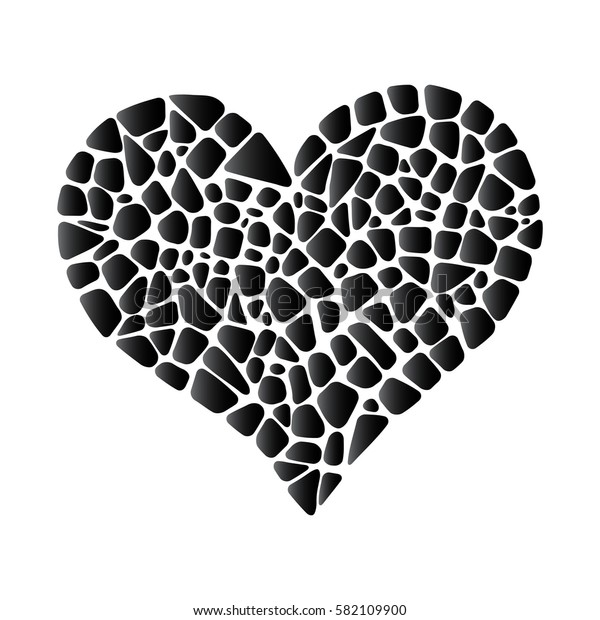 Black vector mosaic heart. Period of mourning design element.