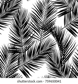 Black vector palm leaves on white background. Hand drawn seamless pattern. Perfect for fabric, wallpaper or giftwrap.