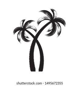 Black vector palm tree icons brush stroke design