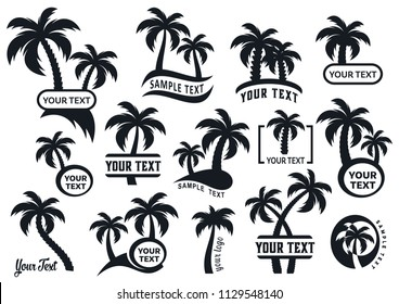 Black vector palm tree silhouette logo templates collection