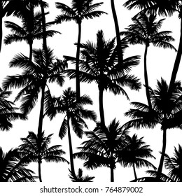 Black vector palm trees isolated on white background. Hand drawn seamless pattern. Perfect for fabric, wallpaper or giftwrap.