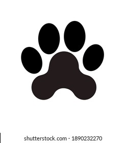 Black Vector Paw Print Silhouette Icon Drawing.Footprint,foot, footstep, animal paw mark,claw.Pet,dog,pets,doggy,kitty,puppy,pup,cat.Sticker.