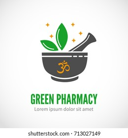 Black vector pharmaceutical mortar and pestle with leaves, pharmacy and alternative medicine vector logo template with sample text isolated on white.on