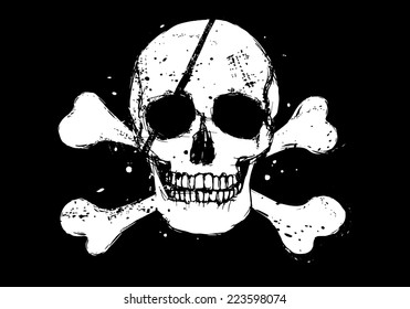 Black vector pirate flag with white grunge style human skull and crossbones