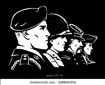 Black vector poster with a white faces of historical American soldiers. Rank of profile portraits. Modern airborne paratrooper, WWII marine, rifleman of Union Army, minuteman with colonial tricorn.