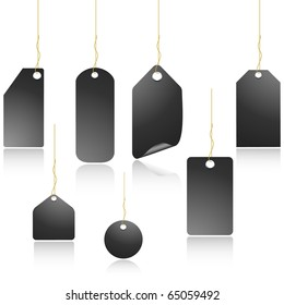 Black vector price tags set isolated on white