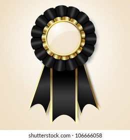 Black vector prize ribbon with place for text