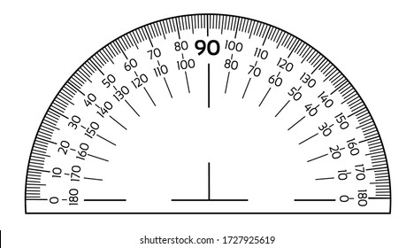 Black vector protractor ruler isolated on the white background
