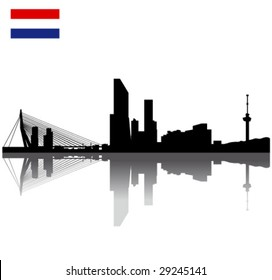 Black vector Rotterdam silhouette skyline with flag