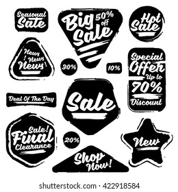 Black Vector Sale Tags In Grunge Style. Big Sale, Special Offer, Hot Sale, Final Clearance Sale, Seasonal Sale, Deal Of The Day, News, Discount, Shop Now, 70% off, 50% off, 30% off, 20% off, 10% off.