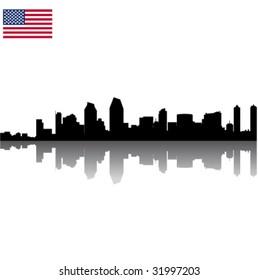 Black vector San Diego silhouette skyline with USA flag