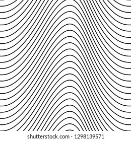 Black vector seamless thin wavy line pattern isolated