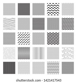 Black vector seamless wavy line pattern big collection