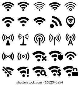 Black vector set wi-fi icons. wifi signal illustration sign collection. wireless symbol.