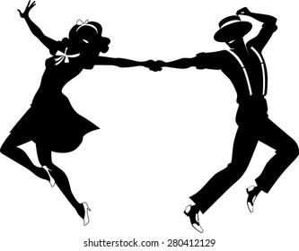 Black vector silhouette of a couple dancing swing or tap dance, no white objects, EPS 8
