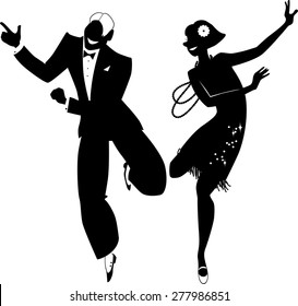 Black vector silhouette of a couple dressed in 1920s fashion dancing the Charleston, no white objects, EPS 8