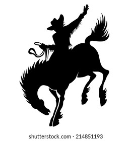 Black vector silhouette of cowboy at rodeo riding wild stallion bucking bronco showing off his horsemanship and skill