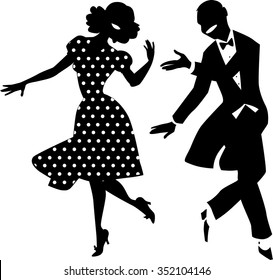 Black vector silhouette of a dancing couple in vintage apparel, no white objects, EPS 8