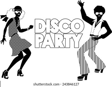 Black vector silhouette for a disco party banner with a dancing couple dressed in 1970s fashion, no white, will look the same on any color background