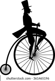 Black vector silhouette of a gentleman on a vintage penny-farthing bicycle, EPS 8