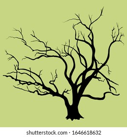 Black vector silhouette of skeletal branches of a willow deciduous tree. An old tree with a thick trunk at the base, very branchy, isolated on a light background.