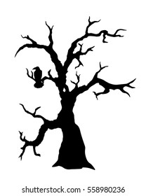 Black vector silhouette of spooky tree with raven sitting on its branch isolated on white background