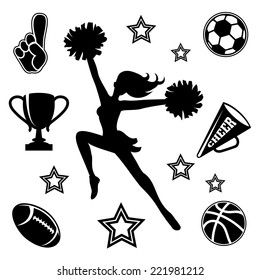 Black vector silhouette of a young female cheerleader with her pompoms surrounded by associated sport icons  megaphone and trophy
