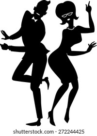 Black vector silhouette of a young stylish couple dressed in late 1950s early 1960s fashion dancing the Twist,  EPS 8