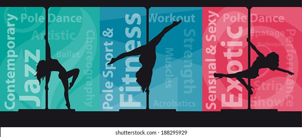 Black vector silhouettes of female pole dancers on abstract background with pole dance keywords