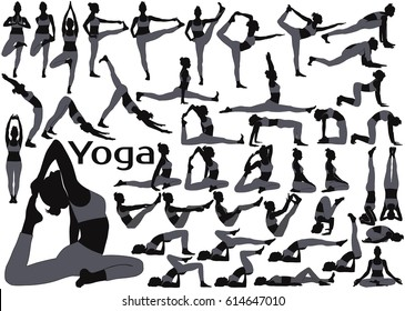 Black vector silhouettes of woman in gray costume in yoga poses. Icons of slim flexible girl practicing yoga and stretching her body.