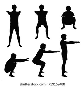 Black vector silhouettes of young man showing right squat positions - side and front, isolated on white background