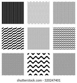 Black vector simple seamless wavy line patterns collection