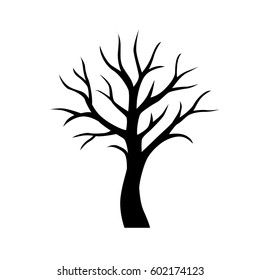 Black vector simple tree without leaves icon isolated on white background